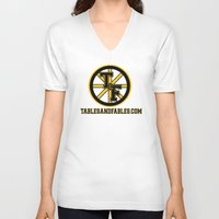 boston V-neck T-shirts featuring Boston by Tables and Fables