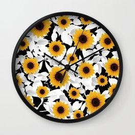 Black & white sunflower Wall Clock