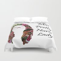 nurse Duvet Covers featuring Miss Pretty Nurse Lady by Kylee's Canvas