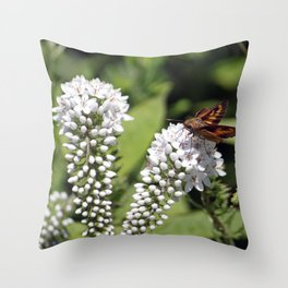 Skipper on a White Flower Throw Pillow