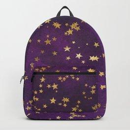Dark Purple Gold Stars Backpack
