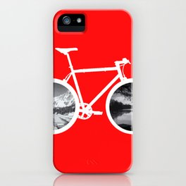 Bicycle tire mountains lake landscape travel gift iPhone Case