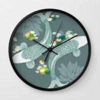 koi Wall Clocks featuring Koi by Amanda Dilworth