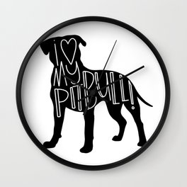 I love my Pit bull Silhouette Wall Clock