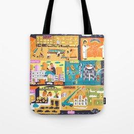 Tel Aviv Map - Montefiore Quarter Tote Bag