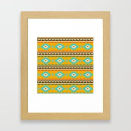 Bohemian mustard pattern. Turquoise diamonds Framed Art Print