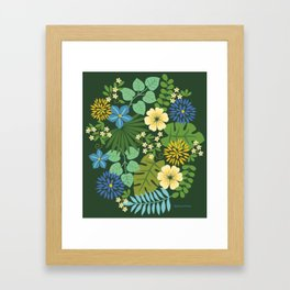 Tropical Blue and Yellow Floral Framed Art Print