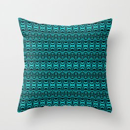Abstract Pattern Dividers 07 in Turquoise Black Throw Pillow