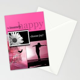 Be Insanely Happy Beautiful Collage Stationery Cards
