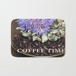 Coffe Beans and Blue Flower of Artichoke Bath Mat
