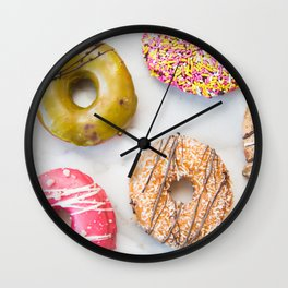 Colorful Donuts on Marble Wall Clock