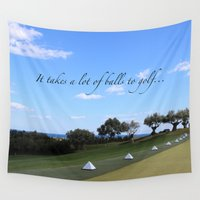 golf Wall Tapestries featuring Golf by Rebecca Bear