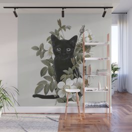 Cat With Flowers Wall Mural