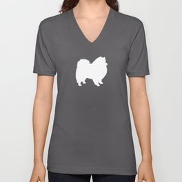 American Eskimo Dog Silhouette Unisex V-Neck