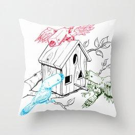 RGBirds Throw Pillow