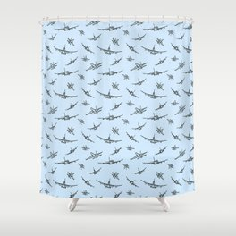 Airplanes on Light Blue Shower Curtain