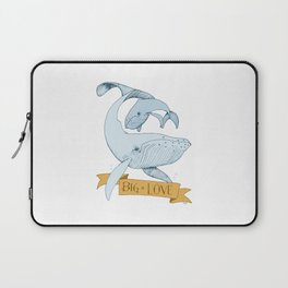 Big Love (gold and blue) Humpback Whales Laptop Sleeve