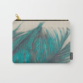 Turquoise Feather Abstract Carry-All Pouch
