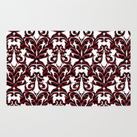 damask Area & Throw Rugs featuring Damask by Annie Skrmetti