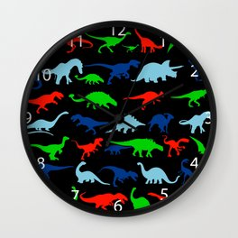 silhouettes of dinosaur pattern Wall Clock