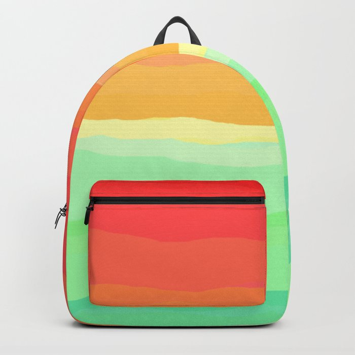 Rainbow - Cherry Red, Orange, Light Green Backpack