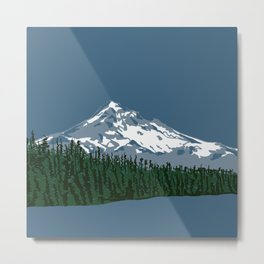 Mount Hood Illustration Metal Print