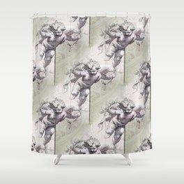 Cherubs & Clockwork Hearts Shower Curtain
