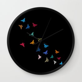Flying Origami Butterflies Wall Clock