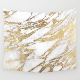 Chic Elegant White and Gold Marble Pattern Wall Tapestry