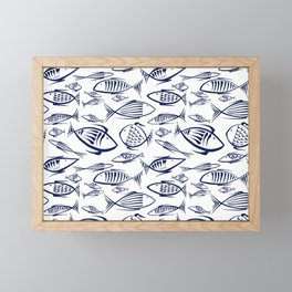 Small blue Fishes on white Framed Mini Art Print