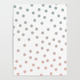 Simply Dots in Coral Peach Sea Green Gradient on White Poster