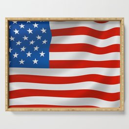 Classic Flag of the USA for Veterans Day Serving Tray