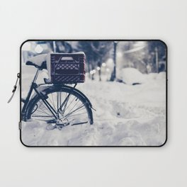 Milk Crate on Bike in Snow Laptop Sleeve