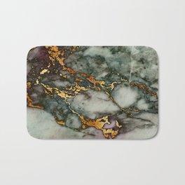 Gray Green Marble Glitter Gold Metallic Foil Style Bath Mat