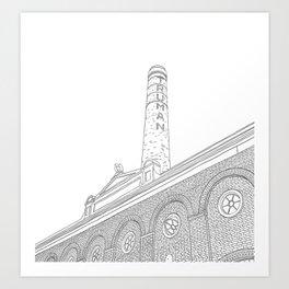 London Truman Chimney - Line Art Art Print