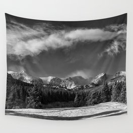 Rocky Mountan Park in Black and White Wall Tapestry