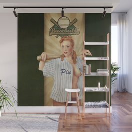 VINTAGE GIRLS - Baseball Wall Mural