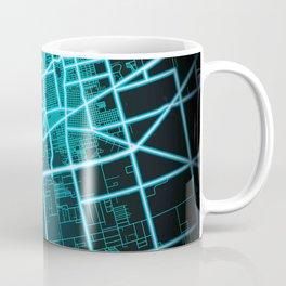 Midland, TX, USA, Blue, White, Neon, Glow, City, Map Coffee Mug