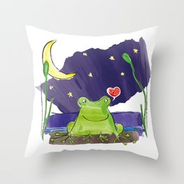 The frog and the moon Throw Pillow