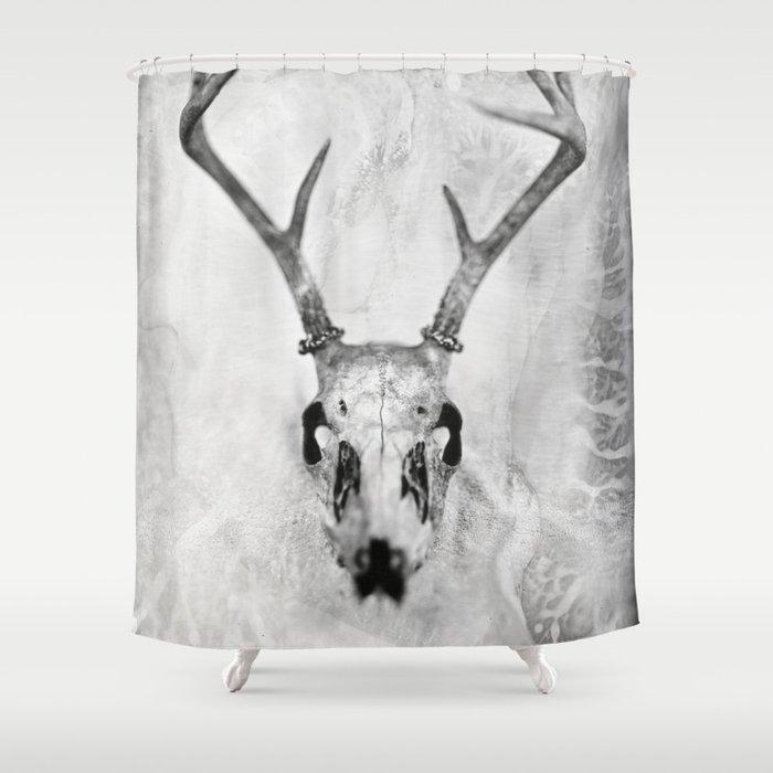 Whitetail Deer Skull (Buck) - 8x10 Tintype Photo Shower Curtain