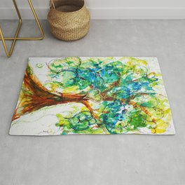 Gold Heart Tree Watercolor by CheyAnne Sexton Rug