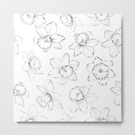 Seamless pattern with flowers narcissus. Metal Print