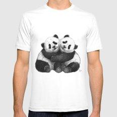 Panda's Hugs G143 Mens Fitted Tee MEDIUM White