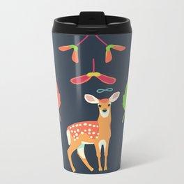 White-tailed Deer + Red Maple Metal Travel Mug