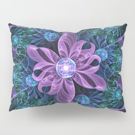 Bejeweled Butterfly Lily of Ultra-Violet Turquoise Pillow Sham