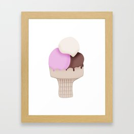Neapolitan Ice Cream Cone Framed Art Print