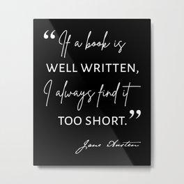Avid Reader II - Jane Austen Quote Metal Print