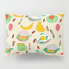Breakfast & Lunch Food Collage Pillow Sham