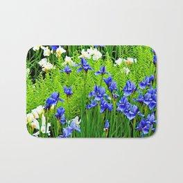 BLUE & WHITE  IRIS FLOWER GARDEN Bath Mat