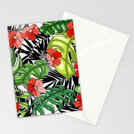 Tropical Flower Pattern - Green and Red Version Stationery Cards